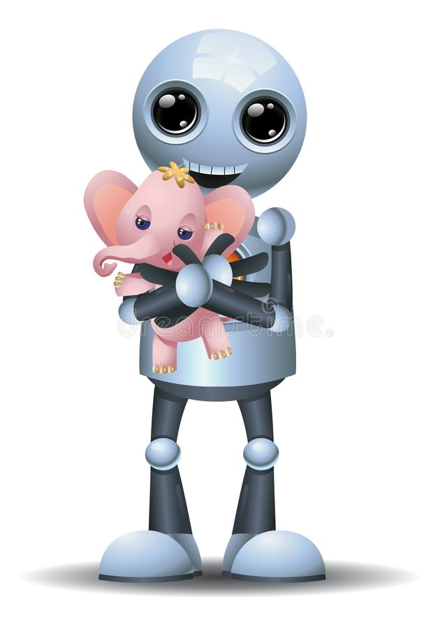Little robot hug toy on isolated white background vector illustration