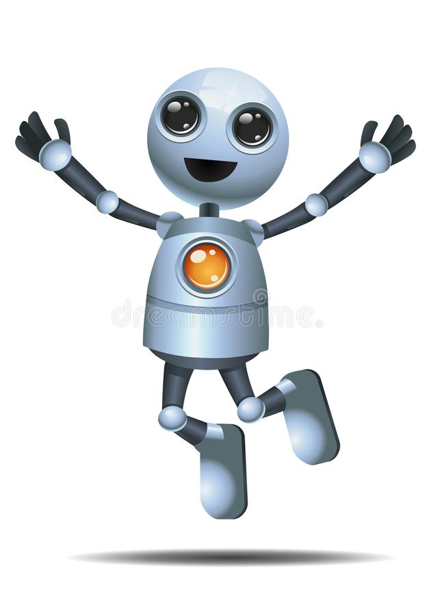 Little robot jump in happiness vector illustration
