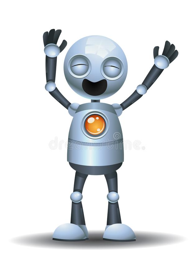 Little robot laughing out loud. Illustration of a little robot laughing out loud on isolated white background action alien character cute cyborg future gray hand royalty free illustration