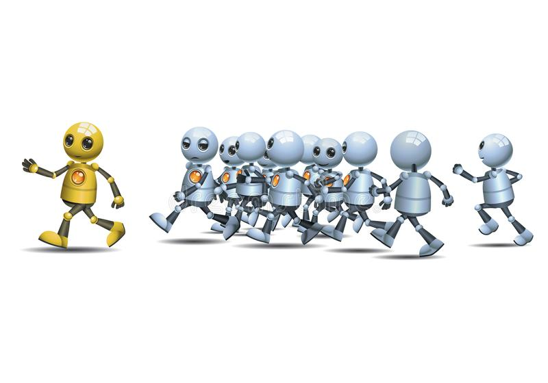 Little robot leading of running pack. Illustration of a happy droid little robot leading of running pack on isolated white background royalty free illustration