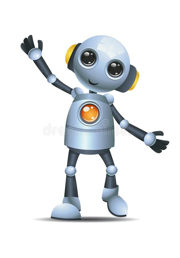 Little robot listen to music vector illustration