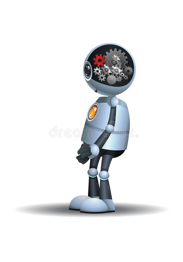 Little robot machinery gear brain vector illustration