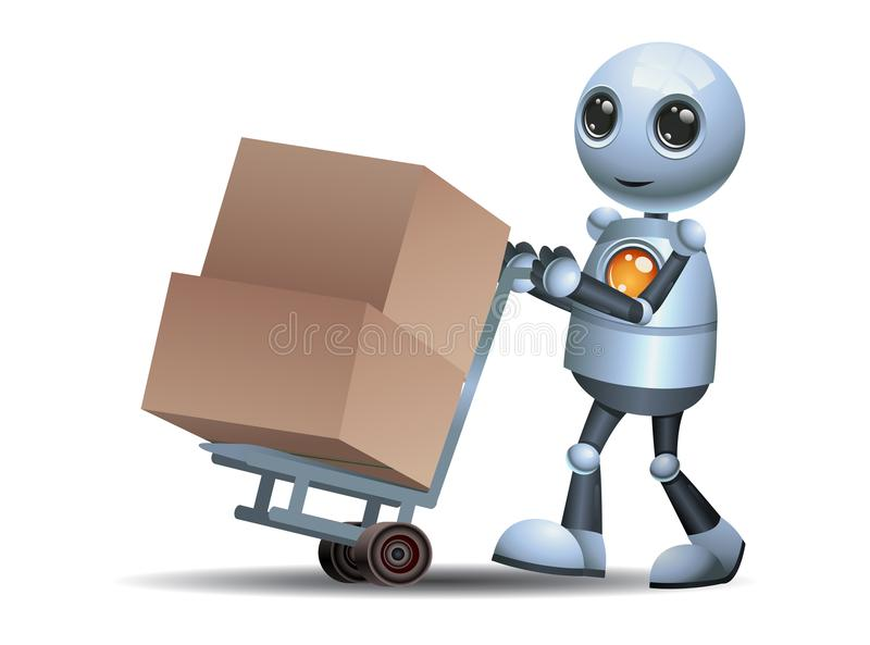 Little robot pushing box in a cart stock illustration