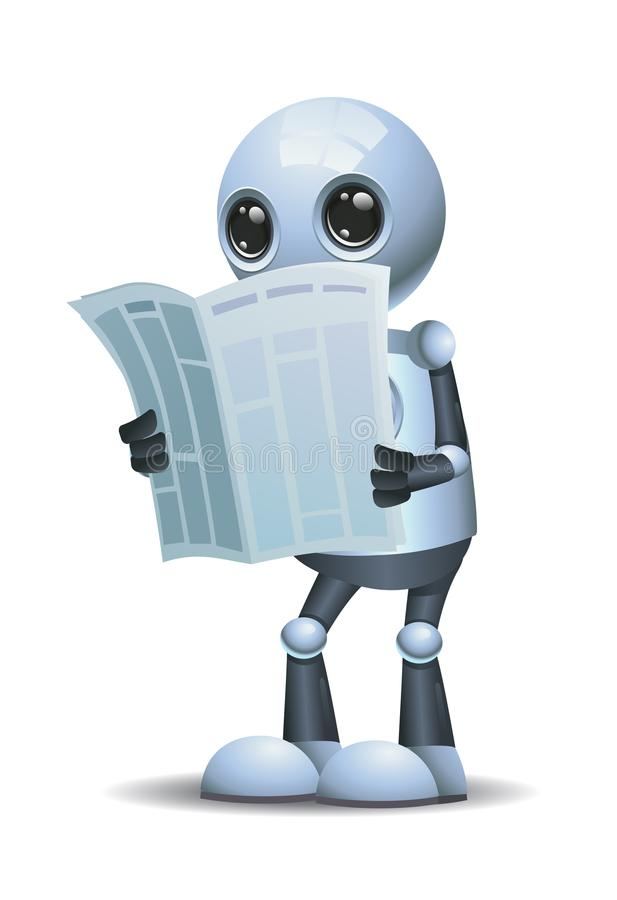 Little robot reading news paper royalty free illustration