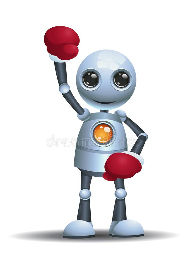 Little robot ready to boxing wearing boxing glove. Illustration of a happy little robot ready to boxing wearing boxing glove on isolated white background stock illustration