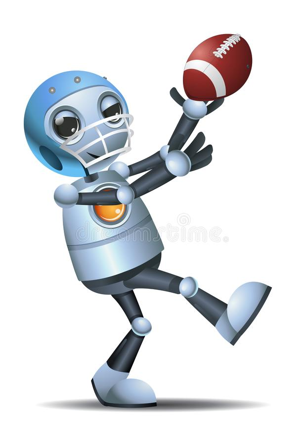 Little robot receiving rugby ball pass. Illustration of a little robot receiving rugby ball pass on isolated white background stock illustration