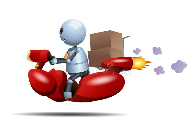 Little robot riding bike delivering box. Illustration of a happy little robot riding bike delivering box on isolated white background stock illustration