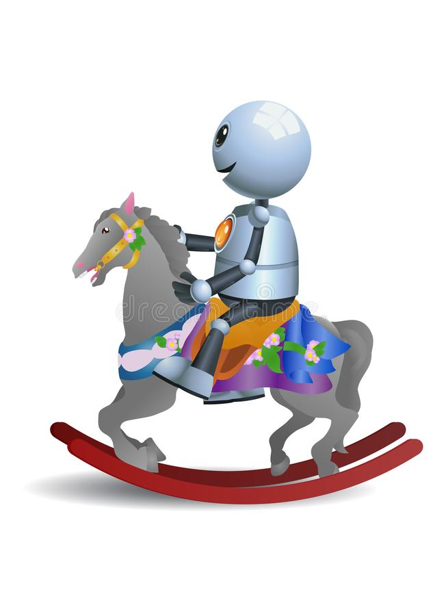 Little robot riding horse toy royalty free illustration