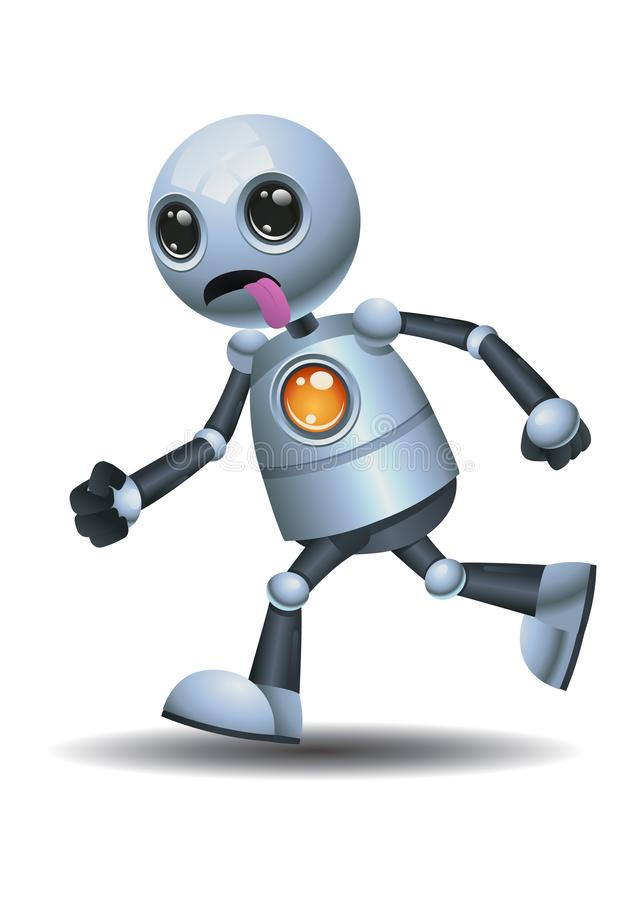 Little robot running while stick it tounge. 3D illustration of a little robot running while stick it tounge on isolated white background, action, alien stock illustration