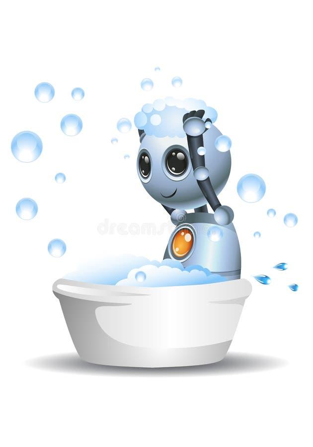 Little robot sit on bath up taking shower. 3D illustration of a little robot sit on bath up taking shower on isolated white background, action, alien, character stock illustration