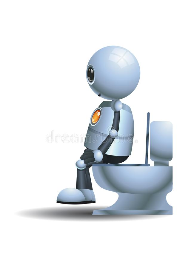 Little robot sit on closet royalty free illustration