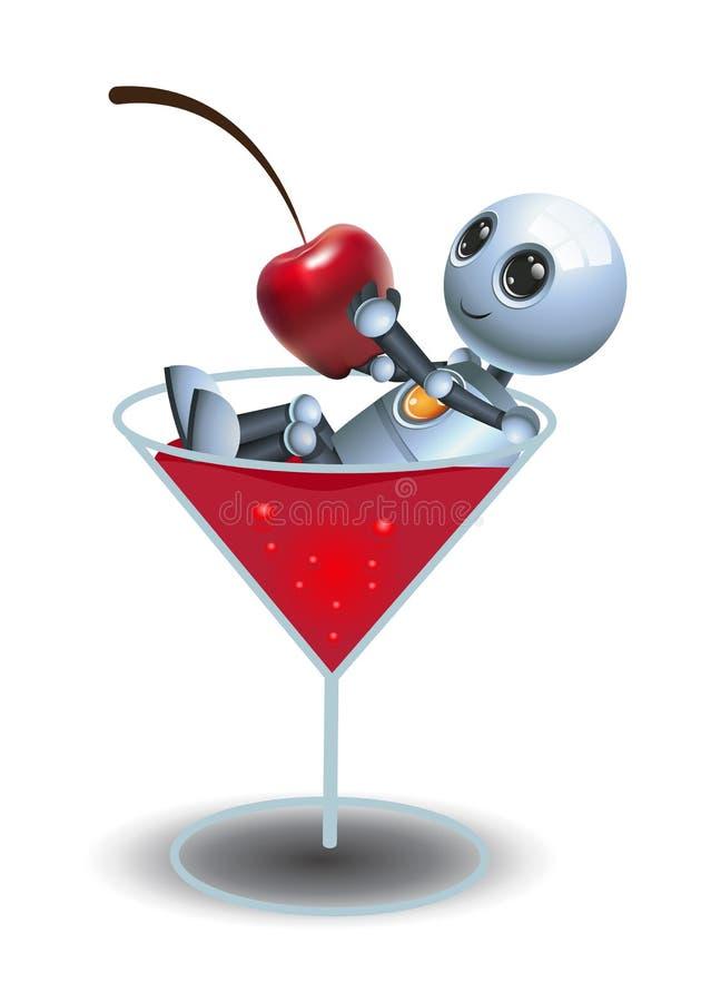Little robot sit relaxing on glass of liquor. 3D illustration of a little robot sit relaxing on glass of liquor on isolated white background, action, alien stock illustration