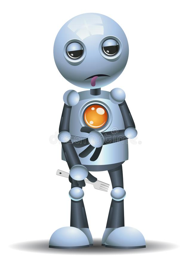 Free Little Robot Starving Hold Fork Stock Photography - 145388292