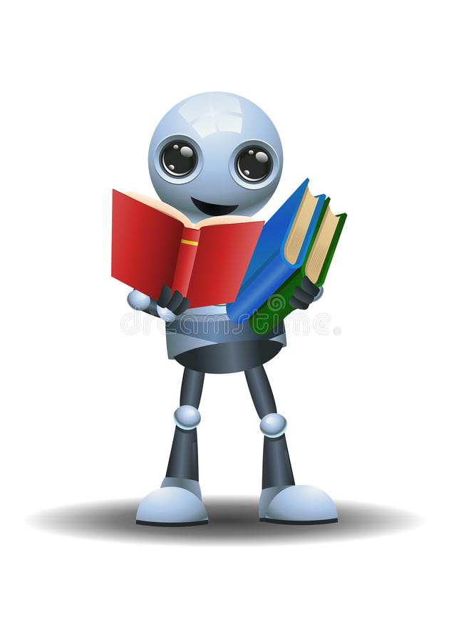 Little robot teaching and holding books stock illustration