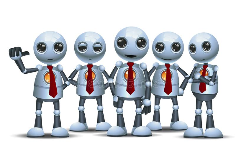 Little robot with team on isolated white background stock illustration
