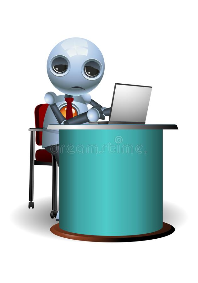 Little robot tired of work. Illustration of a little robot business tired of work on isolated white background vector illustration