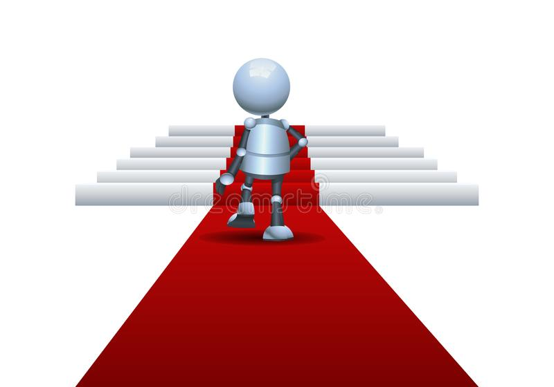 Little robot walking on red carpet going up to podium royalty free illustration