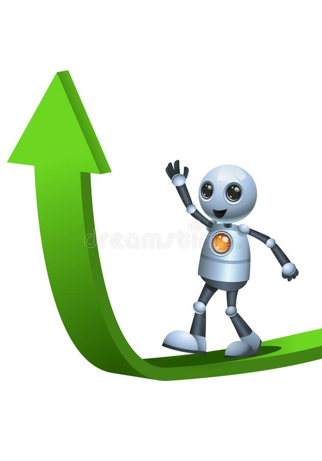 Little robot walking on top of ascending arrow. Illustration of a little robot walking on top of ascending arrow on isolated white background stock illustration
