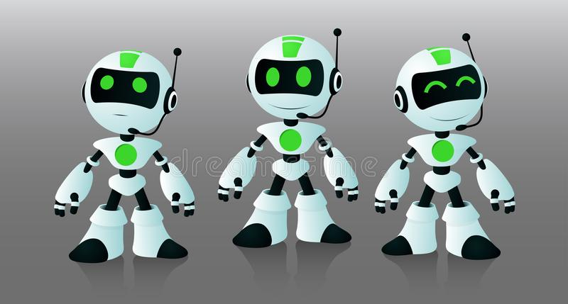 Little robots assistants. To work on the site, chat and call center stock illustration