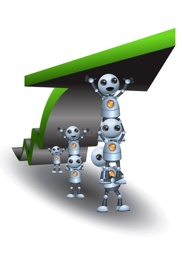 Little robots cooperation making ascending chart arrow. Illustration of a little robots cooperation making ascending chart arrow on isolated white background royalty free illustration