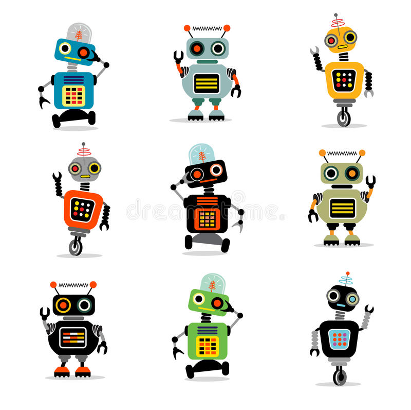 Free Little Robots Set 3 Royalty Free Stock Image - 33561436