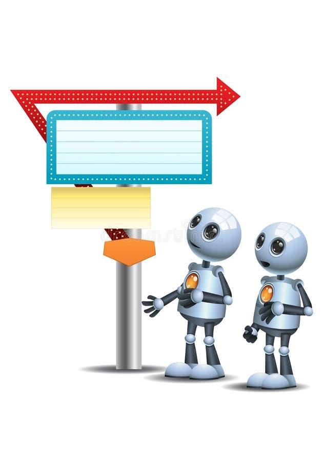 Little robots watch direction sign vector illustration