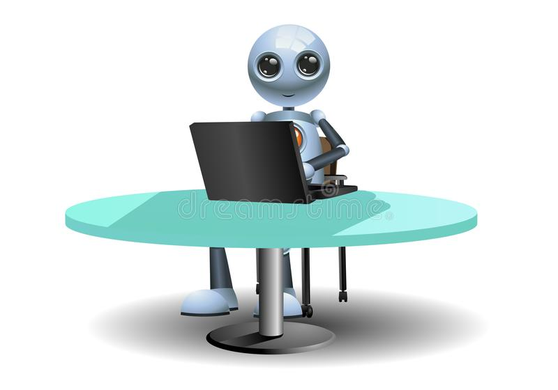 Little robots work using computer. Illustration of a little robots work using computer on isolated white background royalty free illustration