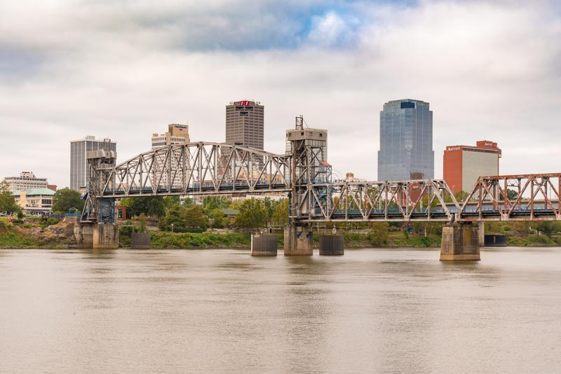 Little Rock, Arkansas City Skyline. LITTLE ROCK, AR - OCTOBER 11, 2017: Little Rock Junction Bridge and city skyline from across the Arkansas River stock photography