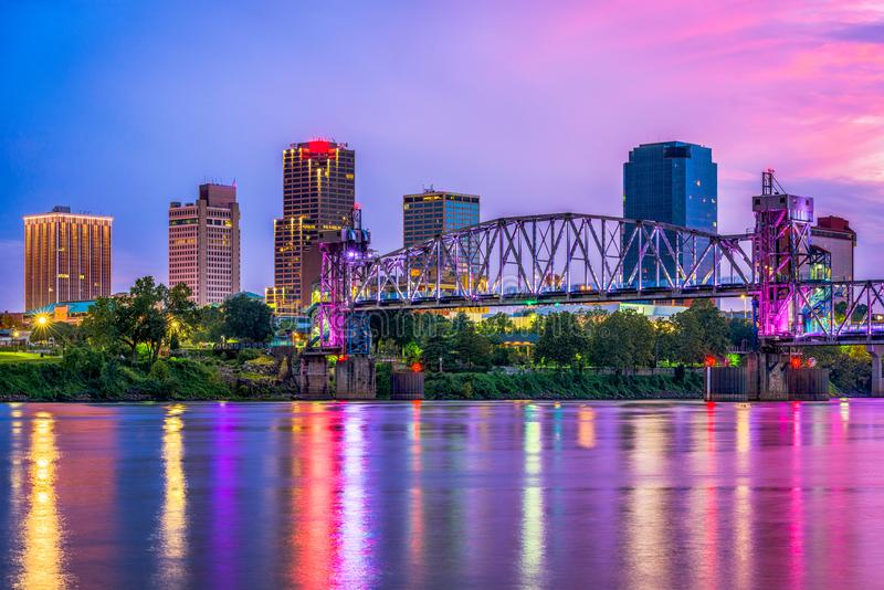 Little Rock, Arkansas, USA. Downtown skyline on the Arkansas River royalty free stock photos