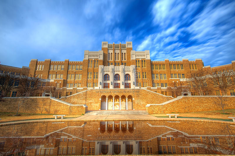 Little Rock Central High School. Site of the 1957 standoff between the federal government and the state of Arkansas. Dwight D. Eisenhower dispatched the 101st stock image