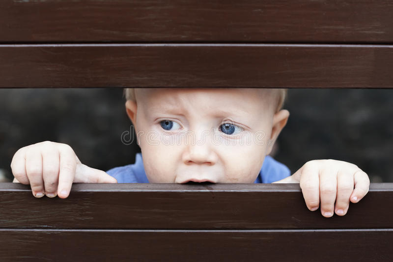 Little sad boy looking out through fence royalty free stock photo