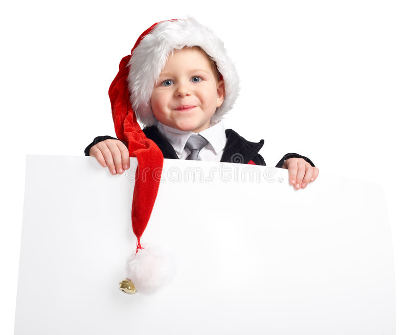 Little Santa helper with banner. stock photography