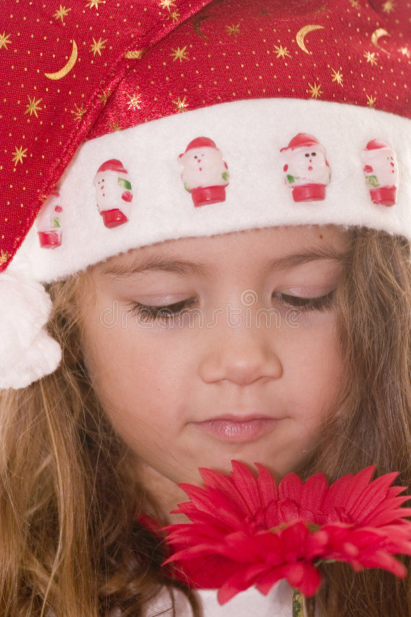 Little Santa smelling a flower royalty free stock photos