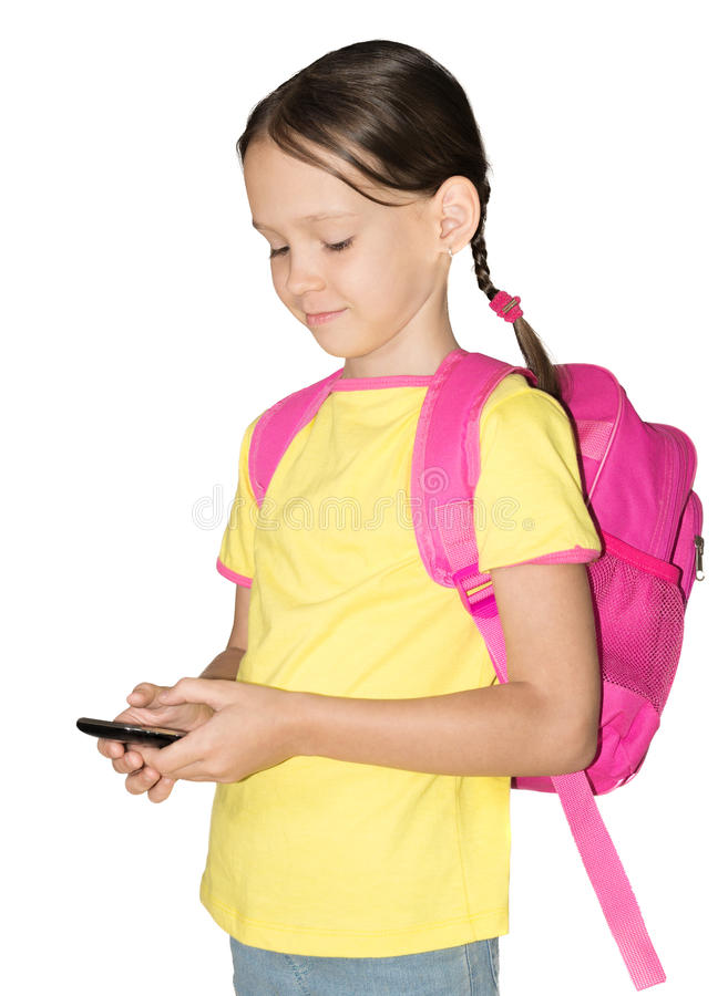 Little school girl with phone stock photos
