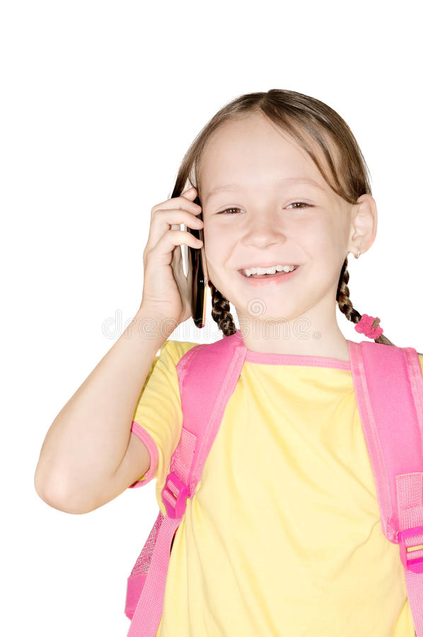 Little school girl with phone royalty free stock images