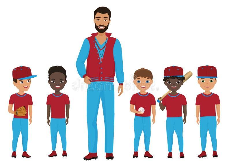Little school kids baseball team with a coach. Vector illustration. stock illustration