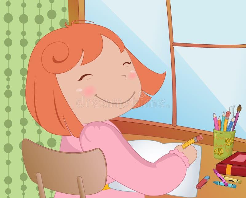 Little schoolgirl. Vector Illustration of little schoolgirl sitting at a desk learning to write vector illustration