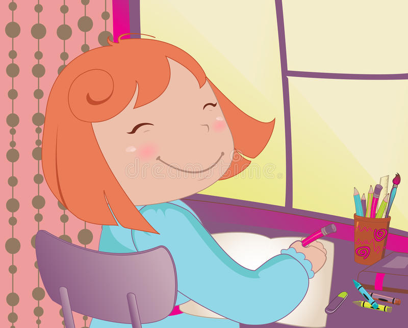 Little schoolgirl. Vector Illustration of little schoolgirl sitting at a desk learning to write stock illustration