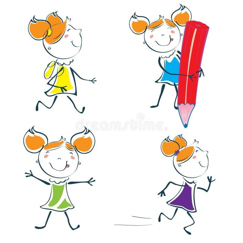 Little schoolgirl. Vector Illustration of cartoon little schoolgirl icon educational set in children hand-drawing style stock illustration
