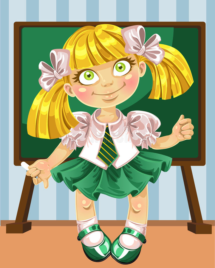 Little schoolgirl at the board royalty free stock image
