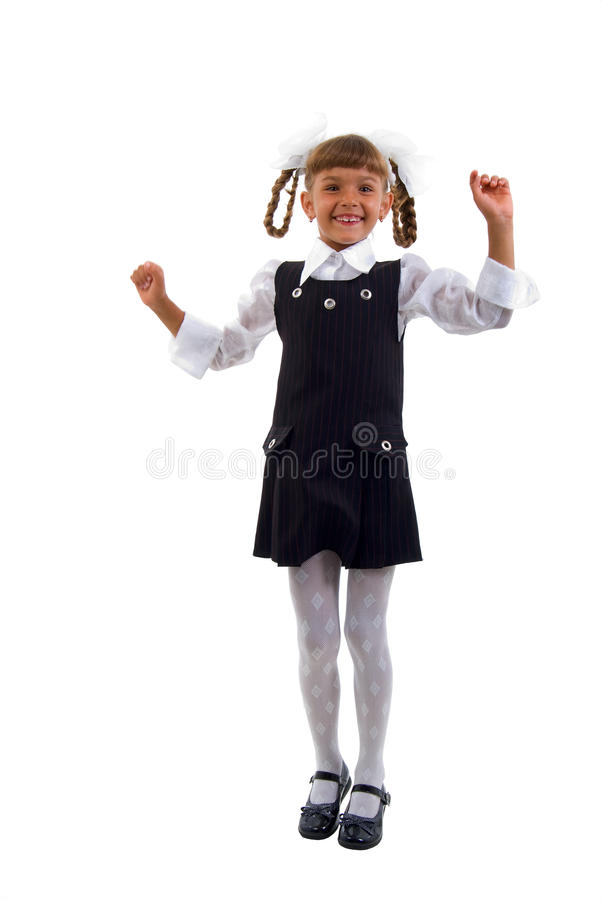Download Little Schoolgirl Jumping Of Joy. Stock Images - Image: 10988714
