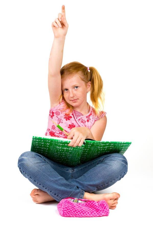 Little Schoolgirl Raised Her Hand Royalty Free Stock Images