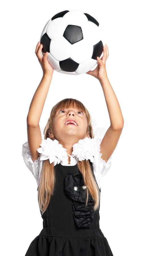 Download Little Schoolgirl With Soccer Ball Stock Photo - Image: 29315908