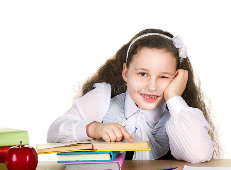 Little schoolgirl study stock photos