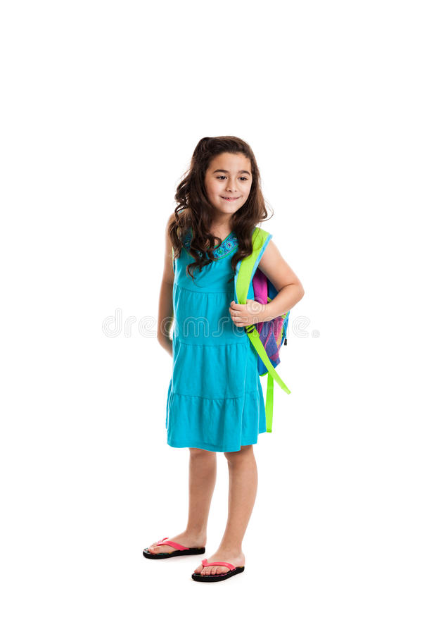 Free Little Schoolgirl With Backpack Royalty Free Stock Photos - 25383328