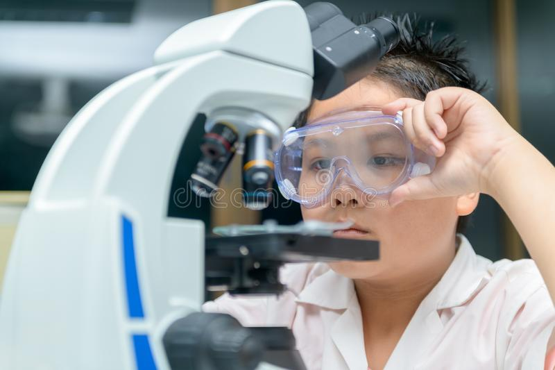 Little Scientist researcher using microscope in laboratory stock photos