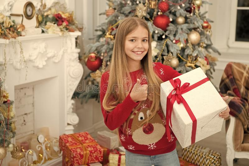 Little secret. Child enjoy the holiday. Happy new year. Winter. xmas online shopping. Family holiday. Christmas tree and. Presents. The morning before Xmas royalty free stock images