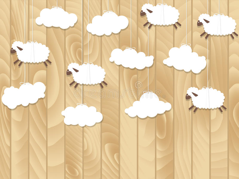Little sheep fly on wooden background. Vector illustration. Little sheep fly on wooden background. Cartoon vector illustration. Paper sheep royalty free illustration