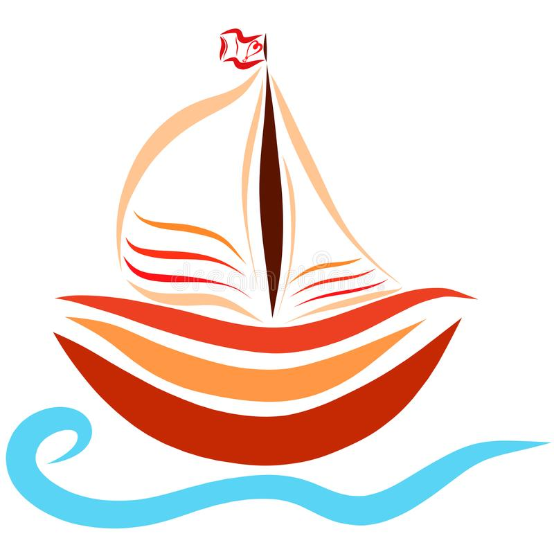 Little ship, heart on the flag, romance.  vector illustration