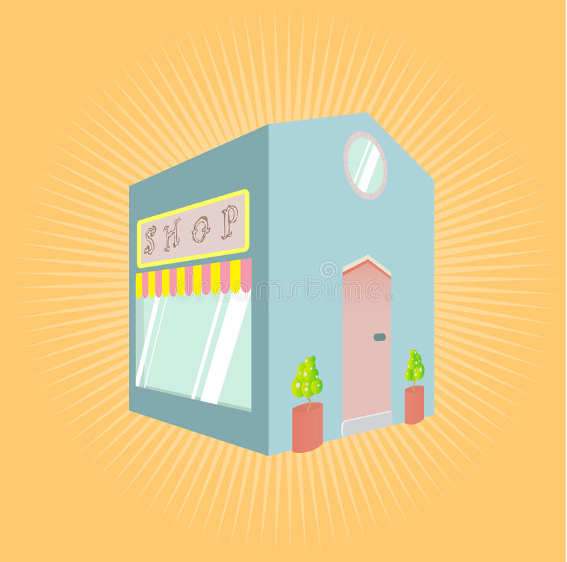Little shop. Vector illustration of a little blue shop with sign